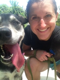 Sky & I after a hot summer run on the Heights Bike Trail
